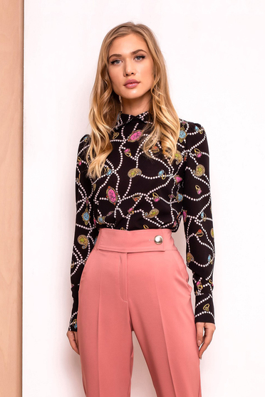 PrettyGirl black elegant flared women`s blouse airy fabric