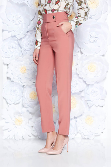 PrettyGirl coral office conical high waisted trousers slightly elastic fabric with pockets