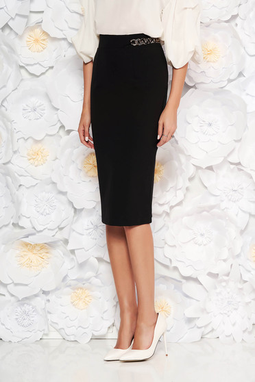 PrettyGirl black elegant high waisted pencil skirt slightly elastic fabric metallic chain accessory