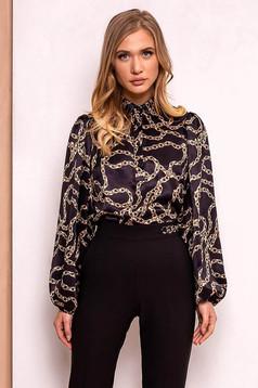 PrettyGirl black elegant with easy cut women`s shirt airy fabric long sleeved