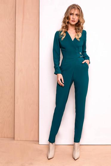 PrettyGirl darkgreen jumpsuit clubbing slightly elastic fabric with v-neckline accessorized with breastpin