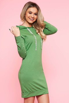 SunShine green daily dress slightly elastic cotton with tented cut with small beads embellished details with pockets