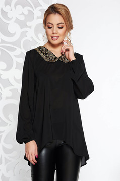 StarShinerS black elegant flared asymmetrical women`s blouse voile fabric with round collar with embroidery details