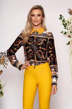 PrettyGirl black elegant flared women`s blouse long sleeve from satin fabric texture