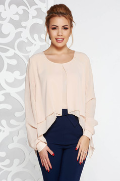 Cream elegant with easy cut women`s blouse voile fabric large sleeves