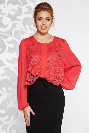 Coral elegant from veil fabric flared women`s blouse lace overlay