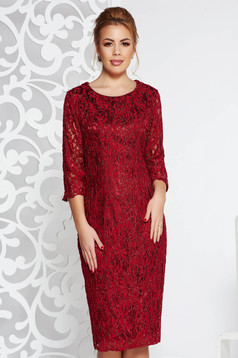 Occasional pencil dress 3/4 sleeve from laced fabric burgundy with inside lining