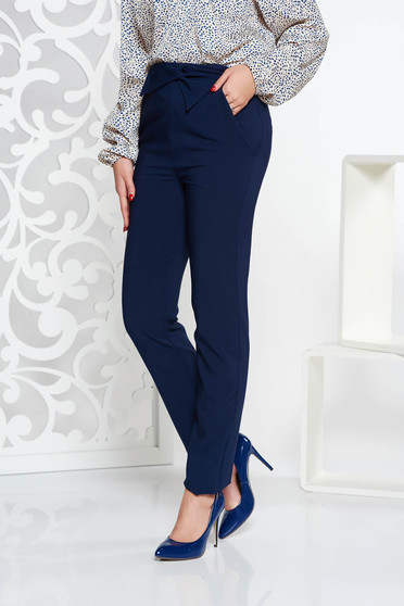 LaDonna darkblue office high waisted trousers slightly elastic fabric with pockets