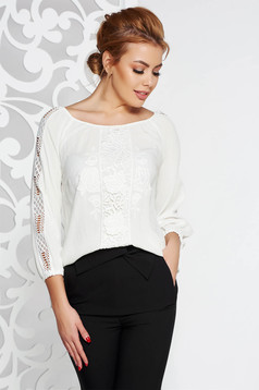 LaDonna white flared women`s blouse airy fabric with lace details