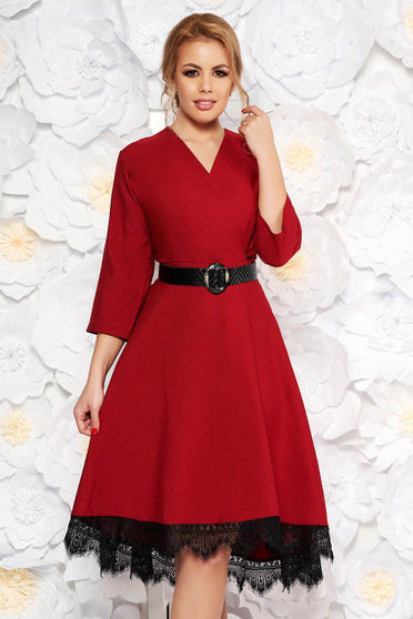Burgundy elegant cloche dress from non elastic fabric with lace details accessorized with belt