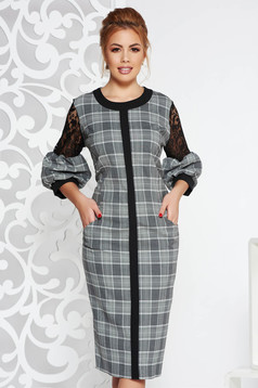 Grey elegant midi dress from non elastic fabric airy fabric with lace details with pockets