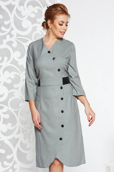 Black daily dress from non elastic fabric with 3/4 sleeves with button accessories