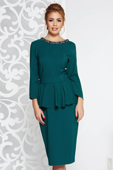 Green elegant midi dress slightly elastic fabric frilled with crystal embellished details accessorized with tied waistband