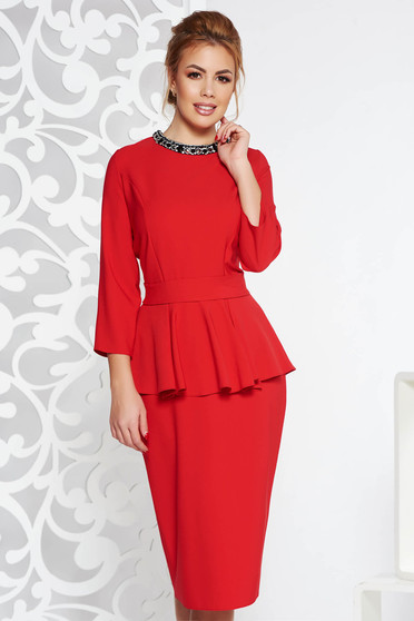 Red elegant midi dress slightly elastic fabric frilled with crystal embellished details accessorized with tied waistband