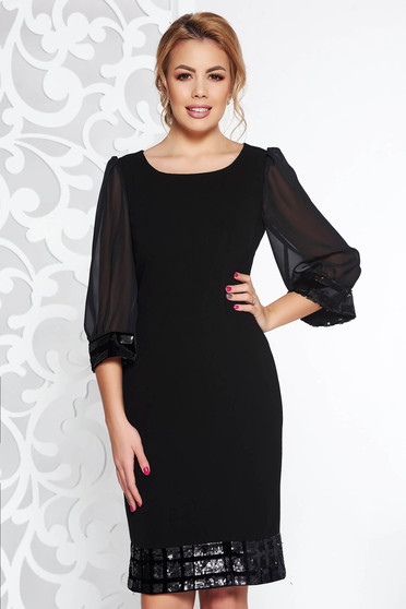 Black occasional dress from non elastic fabric transparent sleeves with sequin embellished details