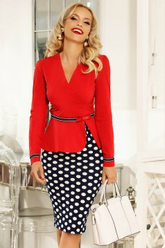 Fofy red office women`s shirt with tented cut slightly elastic cotton accessorized with tied waistband