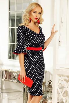 Fofy darkblue daily midi pencil dress slightly elastic fabric with ruffled sleeves