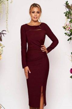 Burgundy elegant midi pencil dress long sleeved from elastic fabric