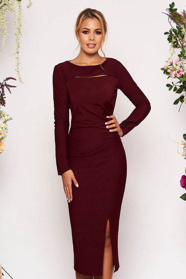 Burgundy elegant midi pencil dress long sleeved from elastic fabric
