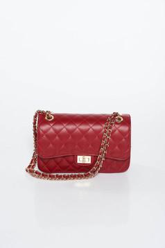 Burgundy bag natural leather long chain handle