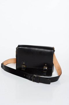 Black casual bag natural leather long, adjustable handle with one internal pocket compartment