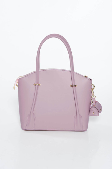 Purple natural leather office bag with two compartments and inside pockets