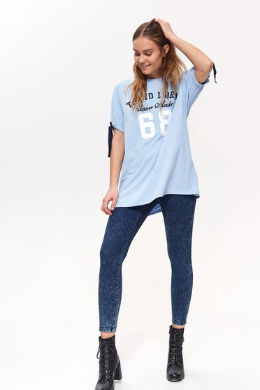 Top Secret blue casual flared cotton t-shirt short sleeves