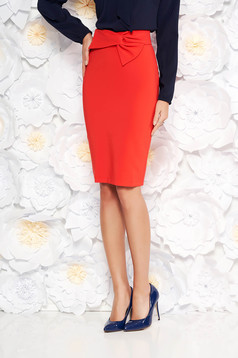 LaDonna coral elegant high waisted pencil skirt slightly elastic fabric