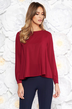 StarShinerS burgundy office flared women`s blouse from veil fabric long sleeved