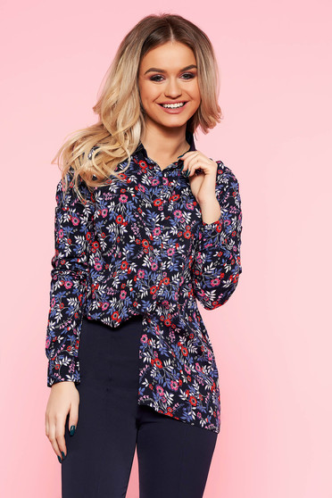 Top Secret darkblue casual flared women`s shirt airy fabric with floral print
