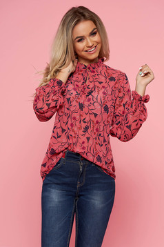 Top Secret pink casual flared women`s blouse long sleeved with floral print