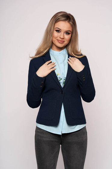 Office jacket darkblue cloth tented long sleeved