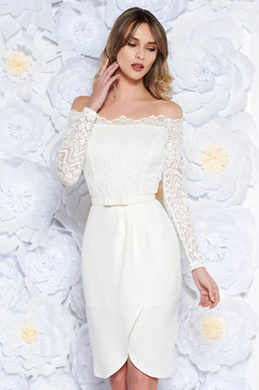StarShinerS white dress occasional pencil from laced fabric with inside lining off shoulder