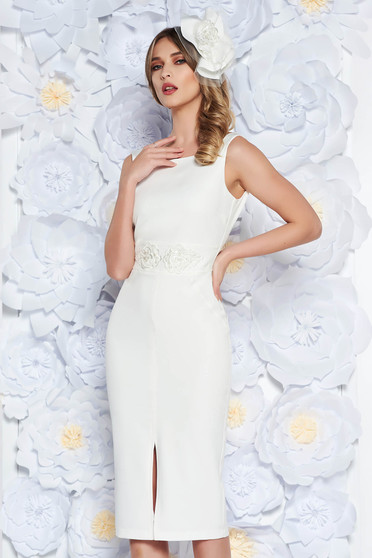 StarShinerS white pencil dress slightly elastic fabric with inside lining lace and sequins details occasional