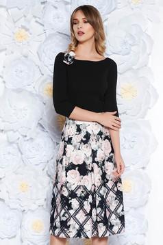 StarShinerS black dress elegant midi cloche scuba with floral prints accessorized with breastpin