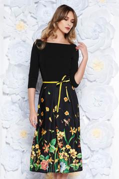 StarShinerS black dress elegant cloche slightly elastic fabric accessorized with tied waistband