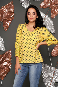 Top Secret yellow casual flared women`s blouse 3/4 sleeve airy fabric dots print