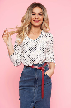 Top Secret white casual flared women`s blouse with v-neckline frilly trim around cleavage line
