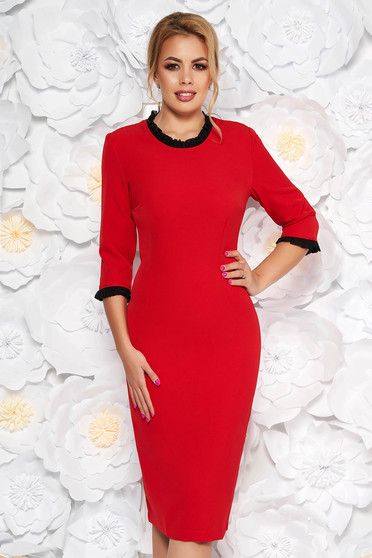 StarShinerS red dress office midi with tented cut slightly elastic fabric with ruffle details