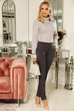 Fofy darkgrey office trousers with medium waist straight slightly elastic cotton