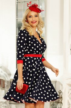 Fofy darkblue elegant daily cloche dress slightly elastic fabric with dots print accessorized with tied waistband