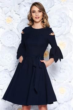 Darkblue dress elegant cloche slightly elastic fabric with tassels with bell sleeve