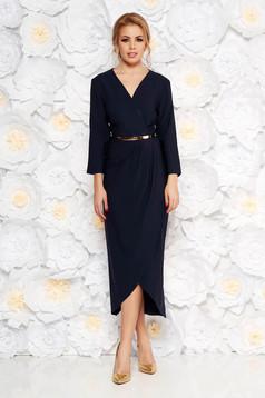 Darkblue elegant dress slightly elastic fabric with inside lining accessorized with belt