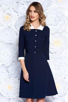 Darkblue office midi cloche dress slightly elastic fabric with inside lining