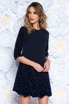 Darkblue dress straight elegant slightly elastic fabric with pearls