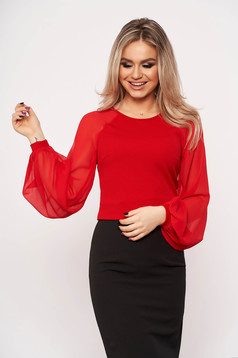 StarShinerS red elegant women`s blouse slightly elastic fabric with veil sleeves with tented cut