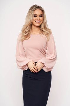 StarShinerS pink elegant women`s blouse slightly elastic fabric with veil sleeves with tented cut