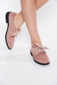 Lightpink shoes casual from ecological leather light sole with lace