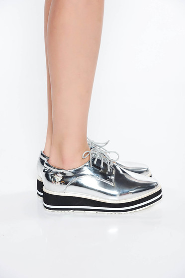 Silver casual shoes from ecological varnished leather low heel