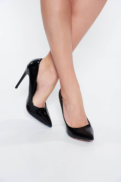 Black elegant shoes from ecological varnished leather with high heels slightly pointed toe tip